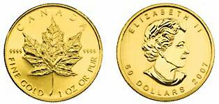 The Canadiam Gold Maple Leaf Coin Features Queen Elizabeth On The Observe Side.